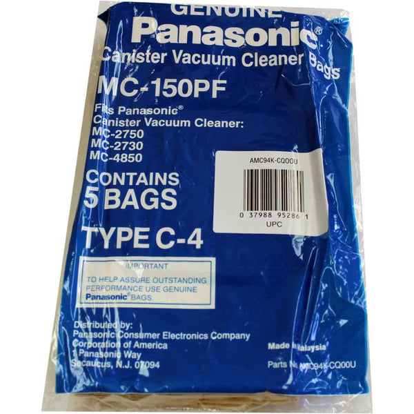 Panasonic Paper Bag, Pana Type C4  Canister 2750  5pk, MC-150PF