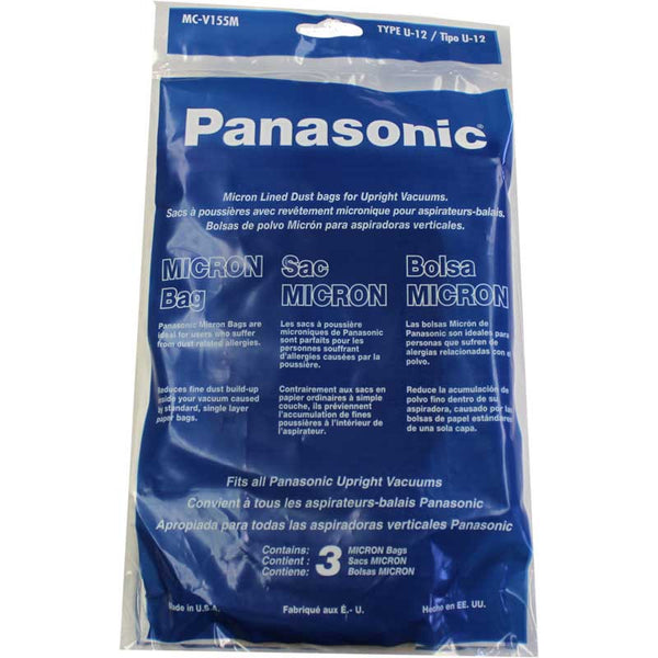 Panasonic Paper Bag, Pan Style U12 3/pk, MC-V155M