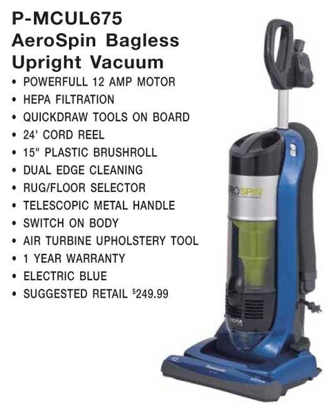 Panasonic Vac, upright Vacuum 15' 24' Cord Reel Rug/floor, MC-UL675