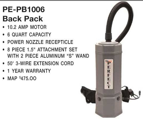 "Perfect Vac, Backpack Vacuum 6qt 50' 3-wire Cord 110"" Lift, PB1006"
