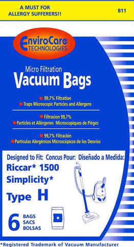 Riccar/Simplicity Paper Bag, 1500 Canister Style H Micron 6pk, 811