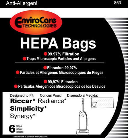 Riccar/Simplicity Paper Bag, Radiance Synergy Type X Hepa Env 6pk, 853
