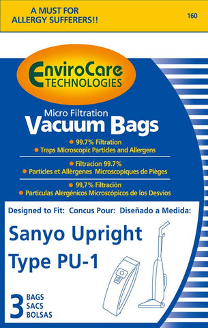 Sanyo Paper Bag, Pu1 All Obt Upright Micron Env 3pk, 160