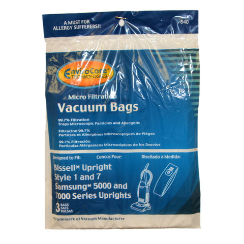 Bissell 1 and 7 Samsung 5000 and 7000 Vacuum Cleaner Bags - 9 bags 840