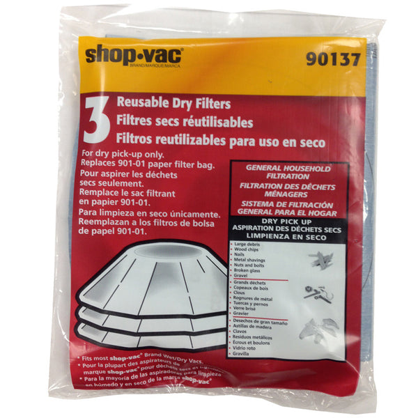 Shop Vac Filter, Dry Pickup 4 Wet/dry 3pk For Most Shop Vac, 90137