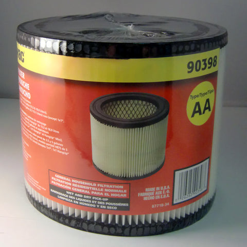 "Shop Vac Filter, Cartridge Qmh/qsh  6"" Dia By 5"" Tall, 90398-00"