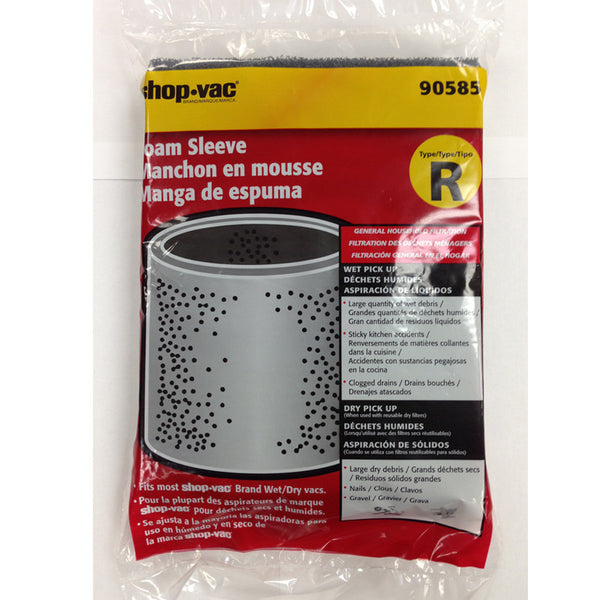 Shop Vac Filter, Foam Sleeve Open Top & Bottom 1pk, 90585-00