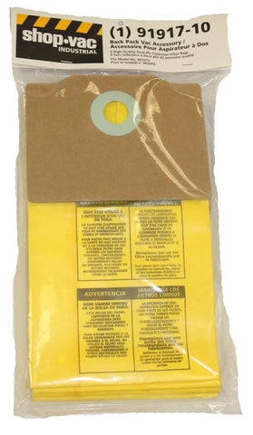 Shop Vac Paper Bag, Backpack      Bp20ts 5pk, 9191710