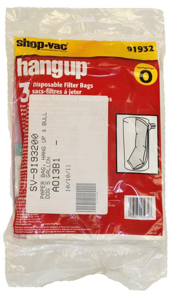 Shop Vac Paper Bag, Hang Up & Bulldog 5 Gallon  3pk, 9193200