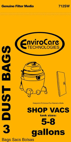 Shop Vac Paper Bag, Shop Vac 5-8 Gallon Env Type E 3pk, 712SW