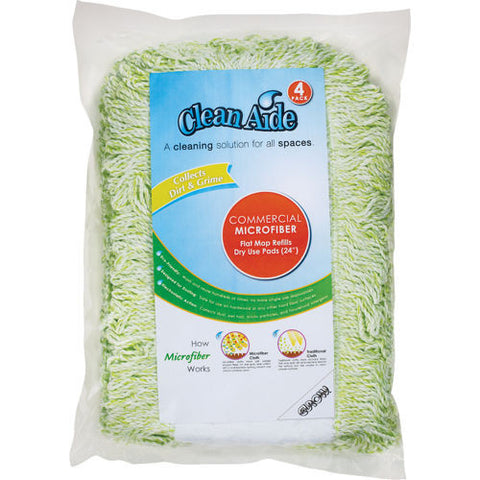 "Clean Aide 24"" Dry Mop Refill - 4 pack Cleans better than cotton - micofiber"