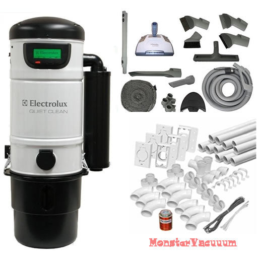 ELECTROLUX QuietClean PU3650 CENTRAL VACUUM SYSTEM Everything Included even pipe