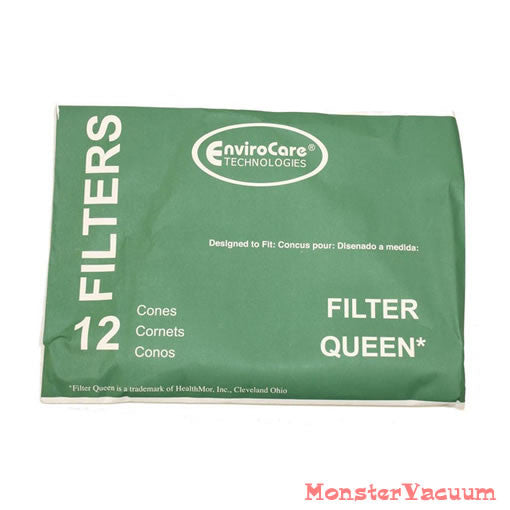 Filter Queen Vacuum Filter Cones 12pk with 2 Motor Guards, Majestic, Princess