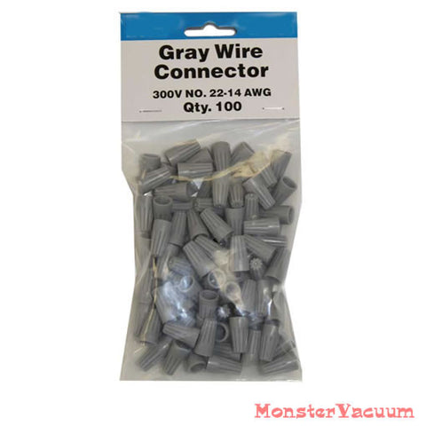 100 gray wire connector nuts 2 wire x 22 ga or 2 wire x 16 gague