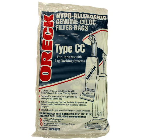 Oreck Type Cc Upright Hypo-Allergenic Double Wall Genuine Vacuum Bags - 8 Pack