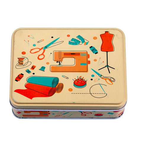 Vintage look sewing box with accessories - hard tin