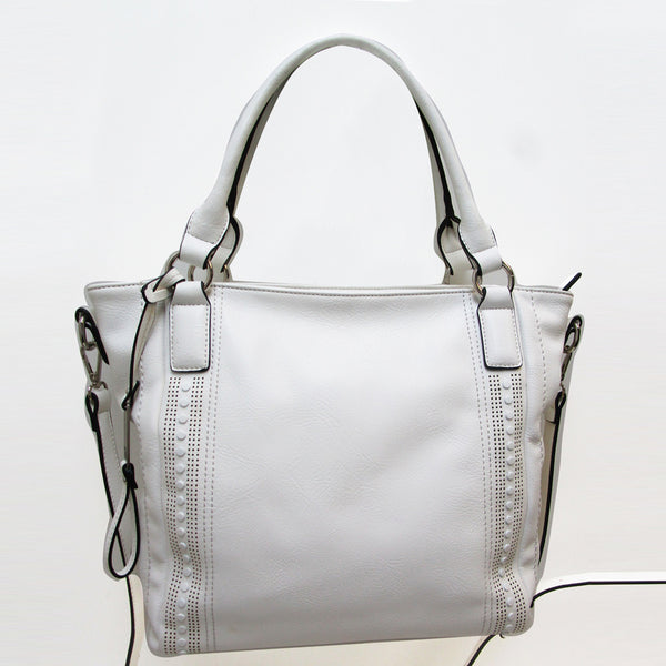 AS4033- Tonal Studded Satchel w/ Extra Strap