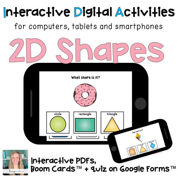 Distance Learning ⋅ 2D Shapes ⋅ Interactive PDF, Boom Cards, and Quiz