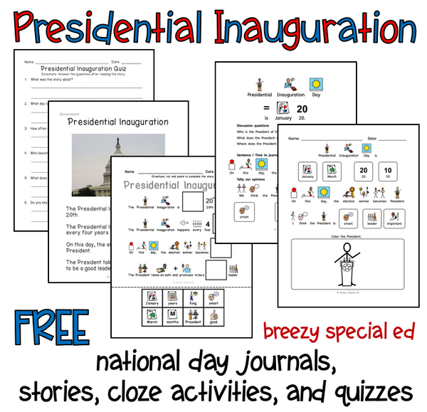 Presidential Inauguration Activities for Special Education FREE