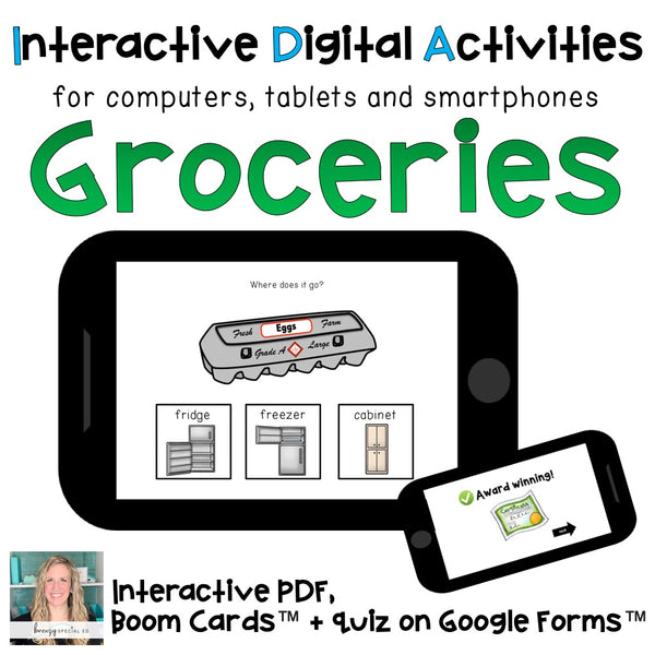 groceries life skill digital task cards for special education