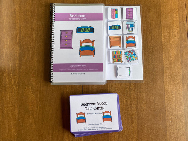 Bedroom Vocabulary Life Skills Adaptive Booklet w Task Cards (Special Ed and Autism Resource)