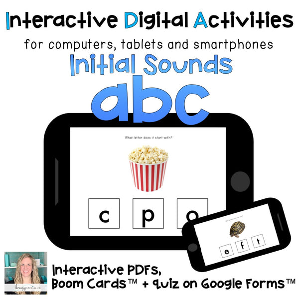 Initial Letter Sounds digital task cards interactive PDF and Boom Cards