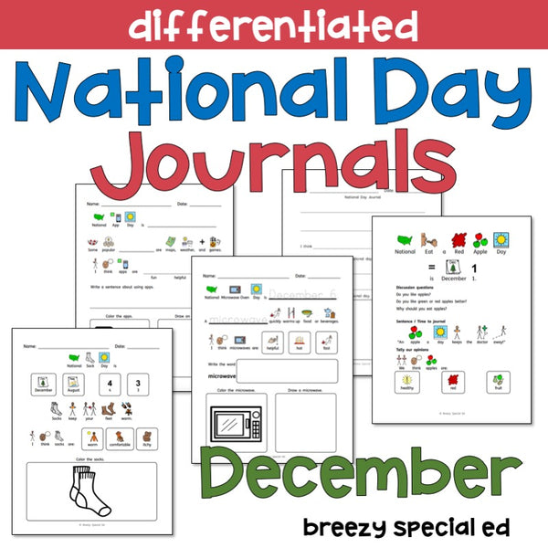 National Days December Differentiated Journals for special education