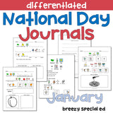 National Days January Differentiated Journals for special education