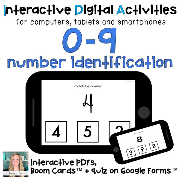 Number Task Cards with different fonts for special education