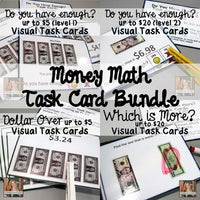 Money Math Visual Task Card Bundle (special education)