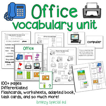 Office / Computer Room Vocabulary Unit for Special Education