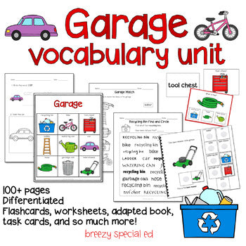 Garage Vocabulary Around the House Unit (Special Education and Autism Resource)