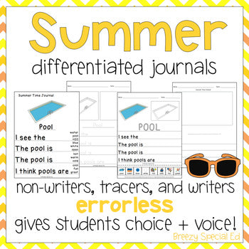 Summer Leveled Journal Writing for Special Education, Autism, and ESY