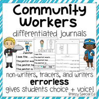 Community Workers - Leveled Journal Writing for Special Education