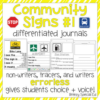 Community Signs 1 - Leveled Journal Writing for Special Education