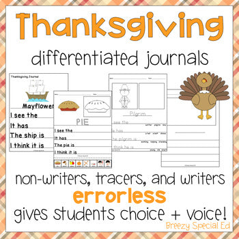 Fall and Thanksgiving Journals - Errorless Differentiated Writing Activity for Special Ed