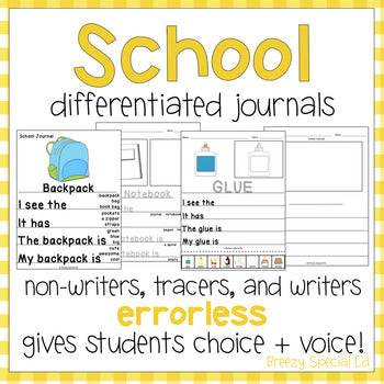 Back-to-School / School Supply Leveled Journal Writing for Special Education