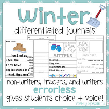 Winter Differentiated Leveled Journal Writing for Special Education / Autism