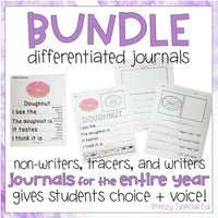 Errorless Differentiated Journal Prompts BUNDLE: Writing for Special Ed / Autism