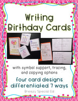 Write a Birthday Card Differentiated for ALL your Special Education Students