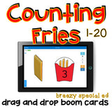 Counting French Fries Fast Food Math Work Task and Boom Cards for Special Ed