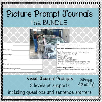 Picture Journal Prompts BUNDLE {Leveled Writing} Great for Special Ed