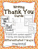 Thank You Cards Differentiated for ALL your Special Education Students