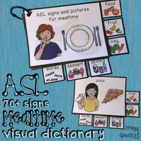 ASL (Sign Language) Visual Mealtime Flashcard Dictionary