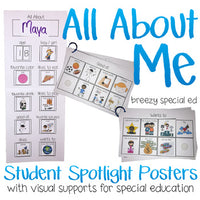 All About Me Posters - Student Spotlight - for Special Education