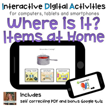 Household Items ⋅ Digital Activities ⋅ Interactive PDF, Boom Cards, + Quiz