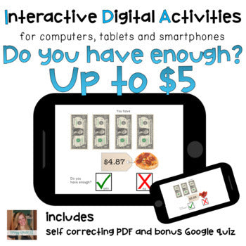 dollar over do you have enough money math life skill digital task card activity
