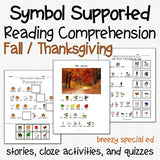 Thanksgiving / Fall - Symbol Supported Reading Comprehension for Special Ed