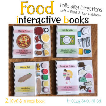 Food Adapted Books Following Directions (Left / Right and More) for Special Ed