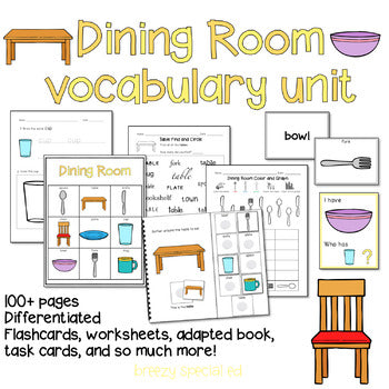 Dining Room Vocabulary Unit (Special Education and Autism Resource)